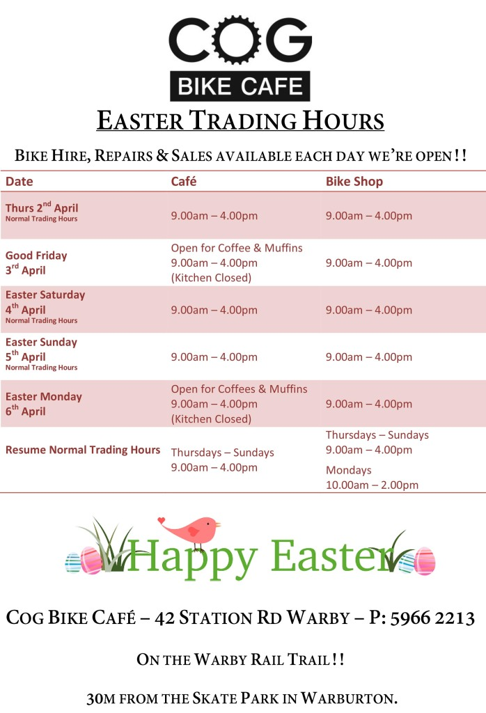 Easter Trading Hours 2015